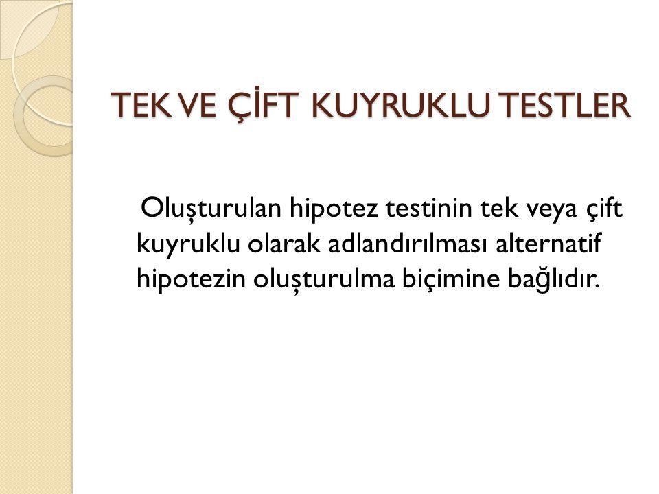 TEK VE Ç İ FT KUYRUKLU TESTLER Oluşturulan hipotez testinin tek veya çift kuyruklu olarak adlandırılması alternatif hipotezin oluşturulma biçimine ba