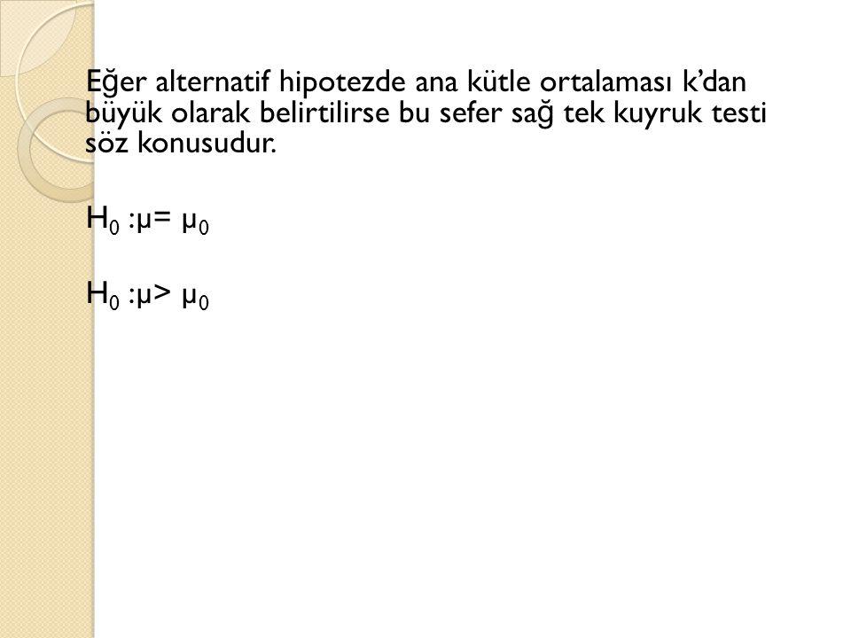 E ğ er alternatif hipotezde ana kütle ortalaması k'dan büyük olarak belirtilirse bu sefer sa ğ tek kuyruk testi söz konusudur. H 0 :µ= µ 0 H 0 :µ> µ 0