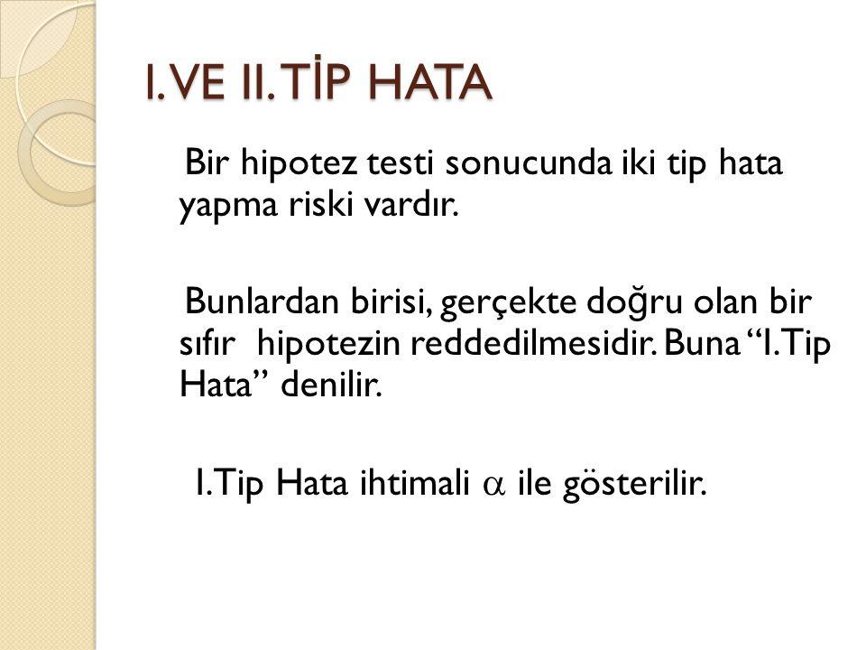 l. VE II. T İ P HATA Bir hipotez testi sonucunda iki tip hata yapma riski vardır. Bunlardan birisi, gerçekte do ğ ru olan bir sıfır hipotezin reddedil
