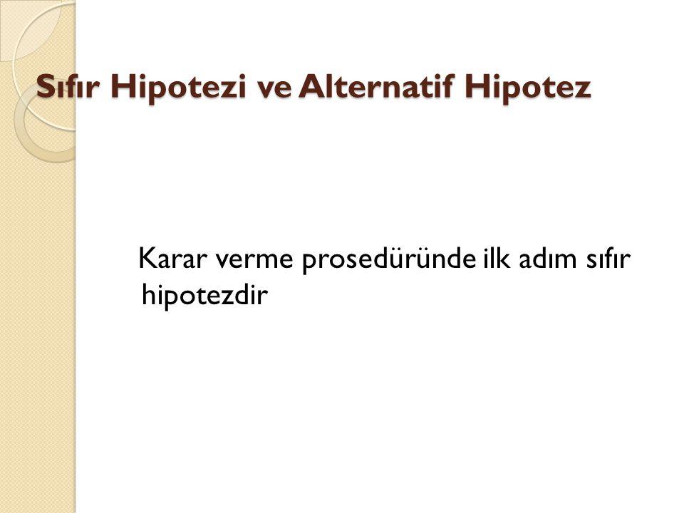 Sıfır Hipotezi ve Alternatif Hipotez Karar verme prosedüründe ilk adım sıfır hipotezdir