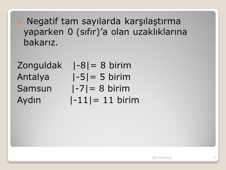  Negatif tam sayılarda karşılaştırma yaparken 0 (sıfır)'a olan uzaklıklarına bakarız. Zonguldak |-8|= 8 birim Antalya |-5|= 5 birim Samsun |-7|= 8 bi