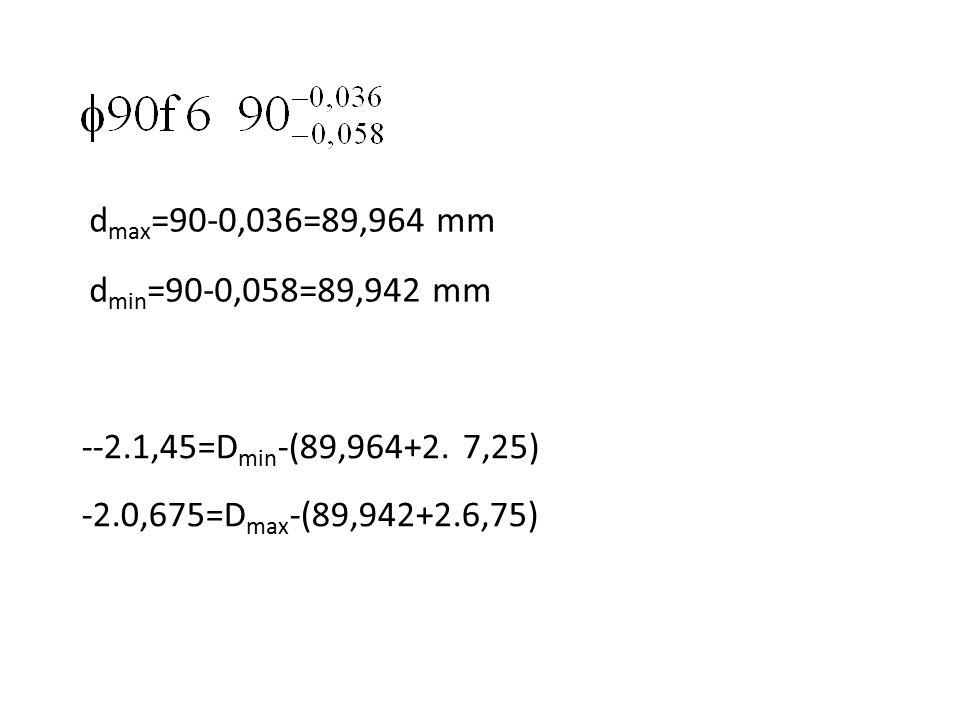 d max =90-0,036=89,964 mm d min =90-0,058=89,942 mm --2.1,45=D min -(89,964+2. 7,25) -2.0,675=D max -(89,942+2.6,75)