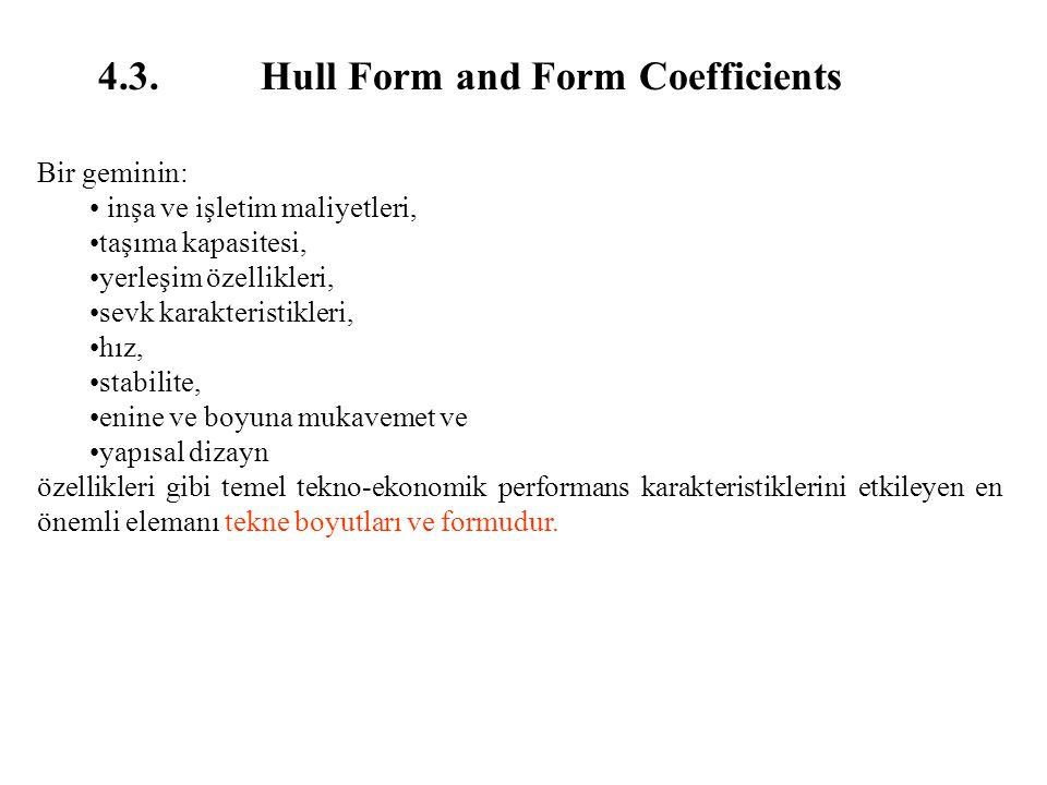 4.3. Hull Form and Form Coefficients Bir geminin: inşa ve işletim maliyetleri, taşıma kapasitesi, yerleşim özellikleri, sevk karakteristikleri, hız, s