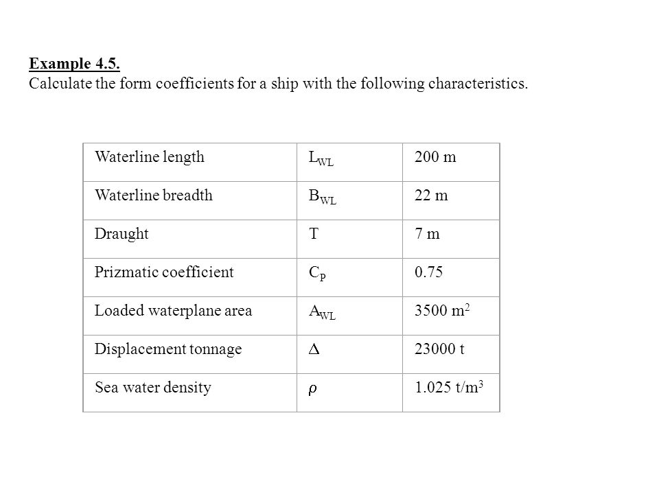 Example 4.5. Calculate the form coefficients for a ship with the following characteristics. Waterline lengthL WL 200 m Waterline breadthB WL 22 m Drau