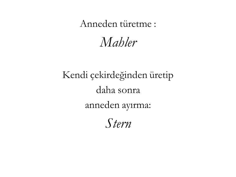 Anneden türetme : Mahler Kendi çekirdeğinden üretip daha sonra anneden ayırma: Stern