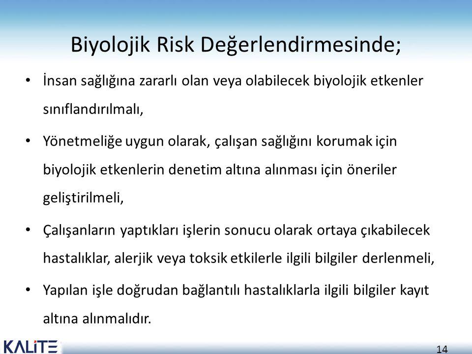 14 Biyolojik Risk Değerlendirmesinde; İnsan sağlığına zararlı olan veya olabilecek biyolojik etkenler sınıflandırılmalı, Yönetmeliğe uygun olarak, çal