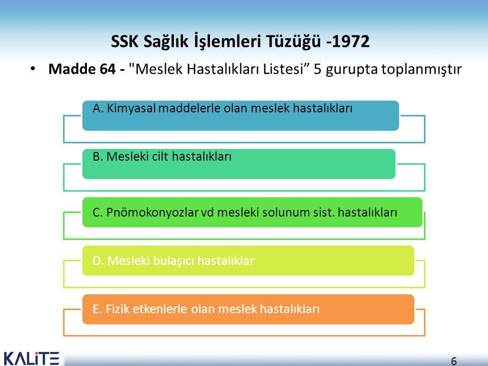 6 SSK Sağlık İşlemleri Tüzüğü -1972 Madde 64 -