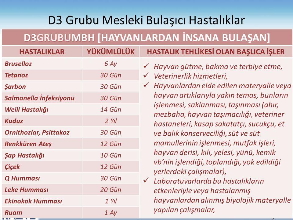 9 D3 Grubu Mesleki Bulaşıcı Hastalıklar