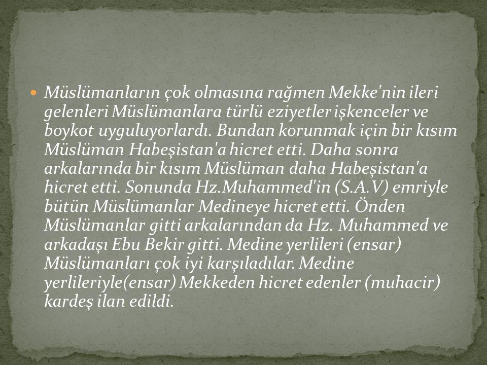 Müslümanların çok olmasına rağmen Mekke'nin ileri gelenleri Müslümanlara türlü eziyetler işkenceler ve boykot uyguluyorlardı. Bundan korunmak için bir