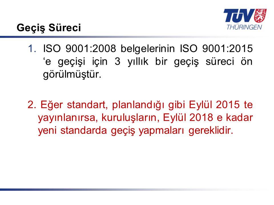 Mit Sicherheit in guten Händen! © TÜV Thüringen Anlagentechnik GmbH & Co. KG Geçiş Süreci 1.ISO 9001:2008 belgelerinin ISO 9001:2015 'e geçişi için 3