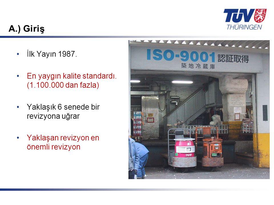 Mit Sicherheit in guten Händen! © TÜV Thüringen Anlagentechnik GmbH & Co. KG A.) Giriş İlk Yayın 1987. En yaygın kalite standardı. (1.100.000 dan fazl