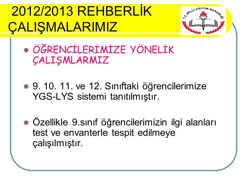 2012/2013 REHBERLİK ÇALIŞMALARIMIZ ÖĞRENCİLERİMİZE YÖNELİK ÇALIŞMLARMIZ 9.