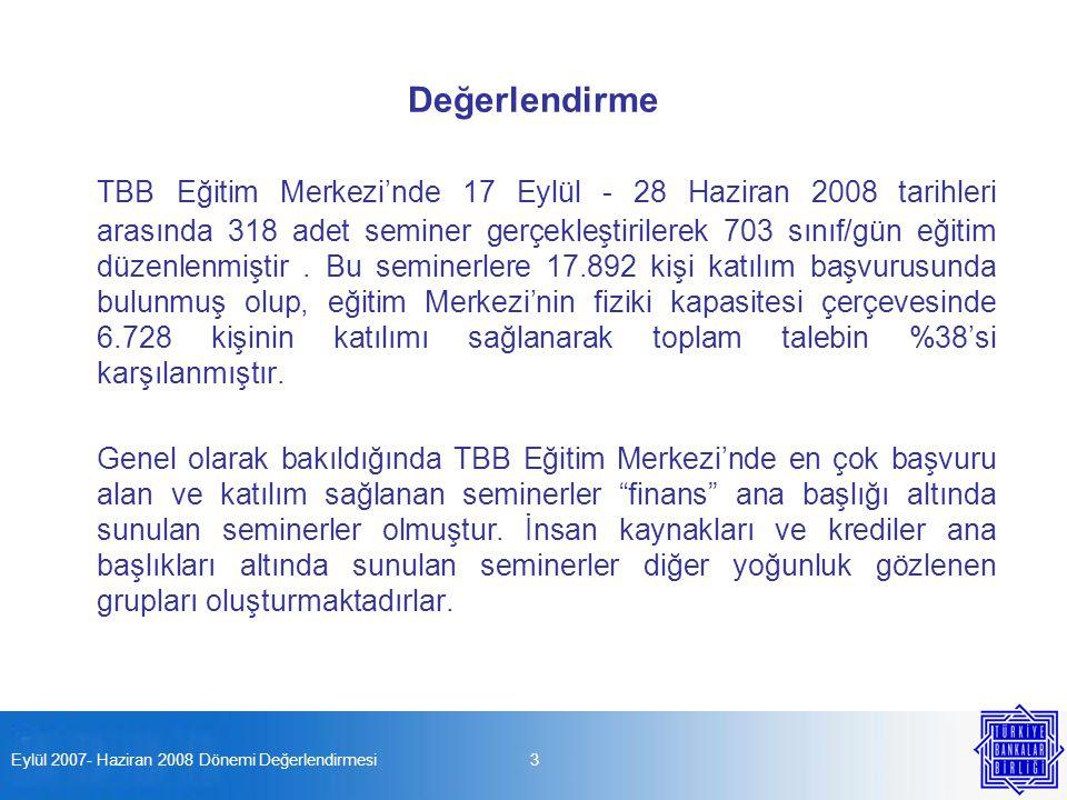 Eylül 2007- Haziran 2008 Dönemi Değerlendirmesi4 Eylül 2007- Haziran 2008 Dönemi Katılım Dağılımları