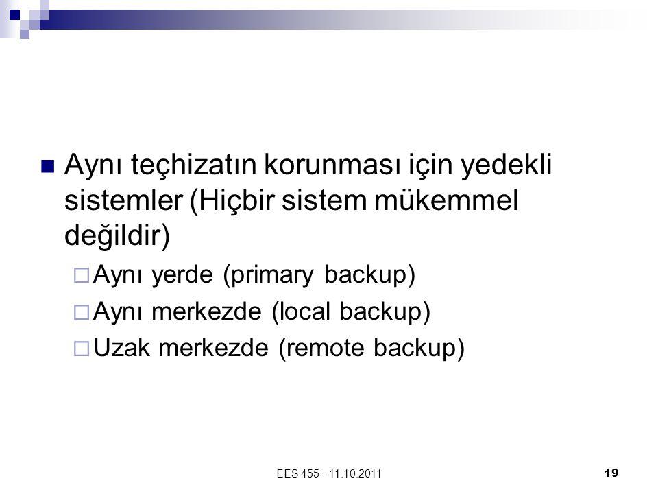 EES 455 - 11.10.201119 Aynı teçhizatın korunması için yedekli sistemler (Hiçbir sistem mükemmel değildir)  Aynı yerde (primary backup)  Aynı merkezde (local backup)  Uzak merkezde (remote backup)