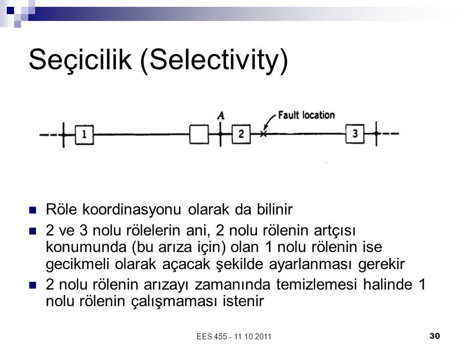 EES 455 - 11.10.201130 Seçicilik (Selectivity) Röle koordinasyonu olarak da bilinir 2 ve 3 nolu rölelerin ani, 2 nolu rölenin artçısı konumunda (bu arıza için) olan 1 nolu rölenin ise gecikmeli olarak açacak şekilde ayarlanması gerekir 2 nolu rölenin arızayı zamanında temizlemesi halinde 1 nolu rölenin çalışmaması istenir