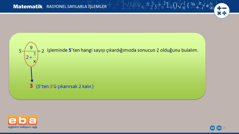 24 RASYONEL SAYILARLA İŞLEMLER 3 (5'ten 3'ü çıkarırsak 2 kalır.) işleminde 5'ten hangi sayıyı çıkardığımızda sonucun 2 olduğunu bulalım.