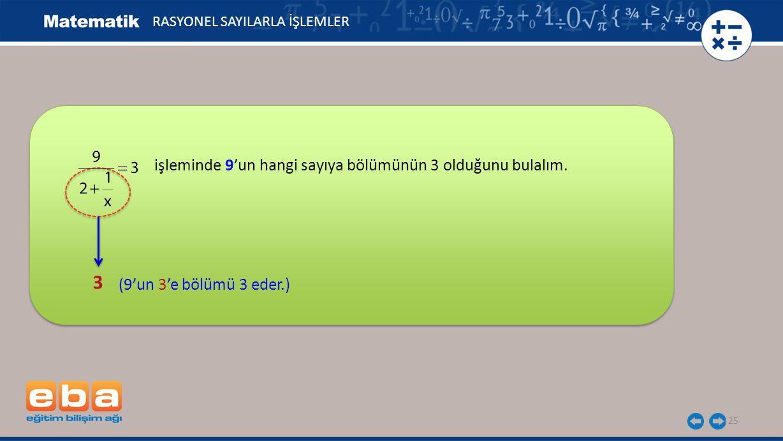 25 RASYONEL SAYILARLA İŞLEMLER 3 (9'un 3'e bölümü 3 eder.) işleminde 9'un hangi sayıya bölümünün 3 olduğunu bulalım.
