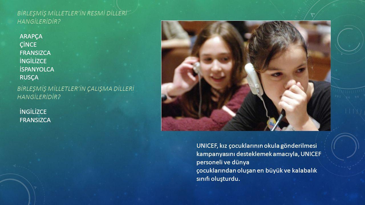 UNICEF, kız çocuklarının okula gönderilmesi kampanyasını desteklemek amacıyla, UNICEF personeli ve dünya çocuklarından oluşan en büyük ve kalabalık sı