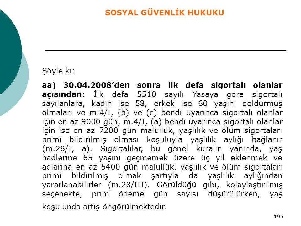 195 Şöyle ki: aa) 30.04.2008'den sonra ilk defa sigortalı olanlar açısından: İlk defa 5510 sayılı Yasaya göre sigortalı sayılanlara, kadın ise 58, erk