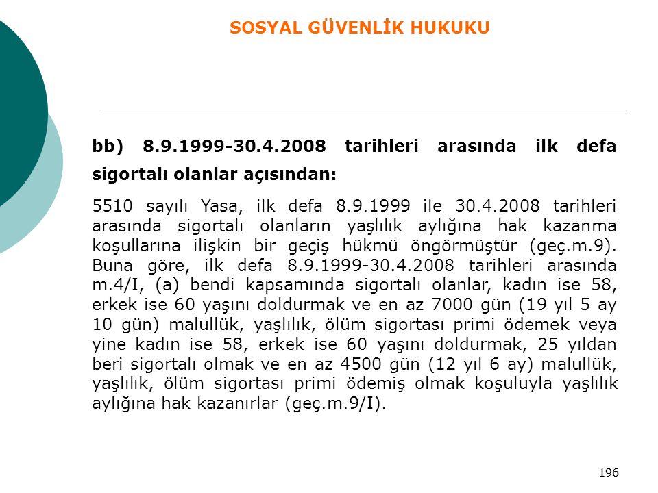 196 bb) 8.9.1999-30.4.2008 tarihleri arasında ilk defa sigortalı olanlar açısından: 5510 sayılı Yasa, ilk defa 8.9.1999 ile 30.4.2008 tarihleri arasın