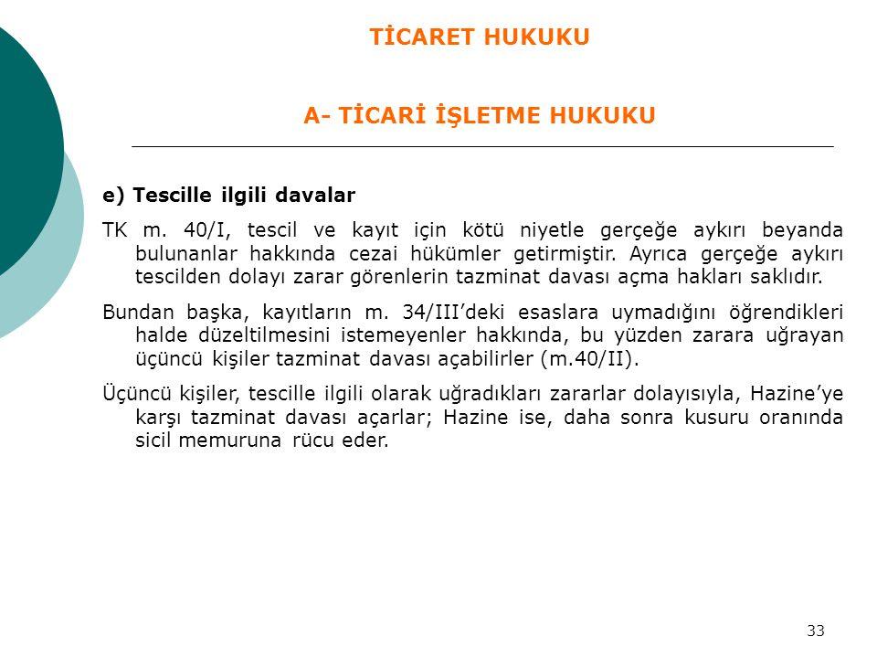 33 e) Tescille ilgili davalar TK m. 40/I, tescil ve kayıt için kötü niyetle gerçeğe aykırı beyanda bulunanlar hakkında cezai hükümler getirmiştir. Ayr