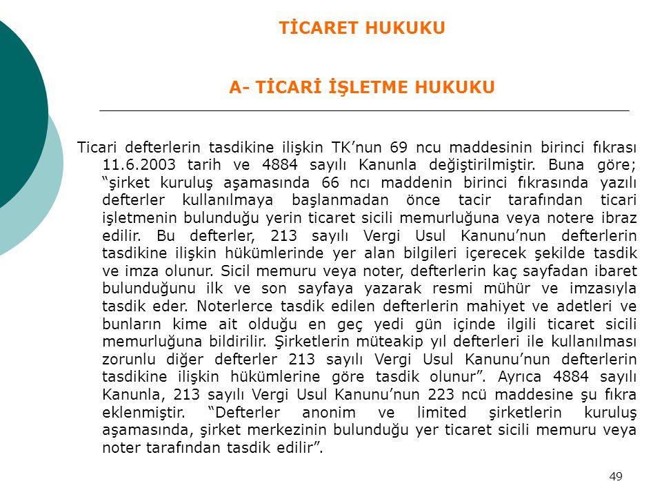 """49 Ticari defterlerin tasdikine ilişkin TK'nun 69 ncu maddesinin birinci fıkrası 11.6.2003 tarih ve 4884 sayılı Kanunla değiştirilmiştir. Buna göre; """""""