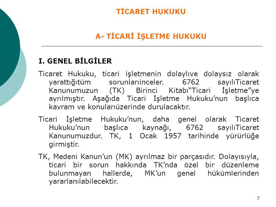 8 II.TİCARİ İŞLETME 1.