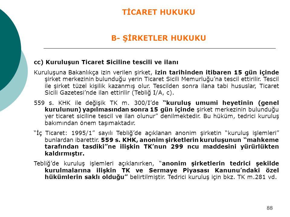 88 cc) Kuruluşun Ticaret Siciline tescili ve ilanı Kuruluşuna Bakanlıkça izin verilen şirket, izin tarihinden itibaren 15 gün içinde şirket merkezinin