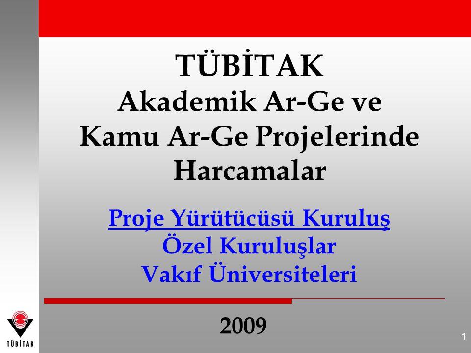 1 TÜBİTAK Akademik Ar-Ge ve Kamu Ar-Ge Projelerinde Harcamalar Proje Yürütücüsü Kuruluş Özel Kuruluşlar Vakıf Üniversiteleri 2009