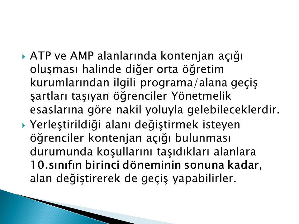  ATP ve AMP alanlarında kontenjan açığı oluşması halinde diğer orta öğretim kurumlarından ilgili programa/alana geçiş şartları taşıyan öğrenciler Yön