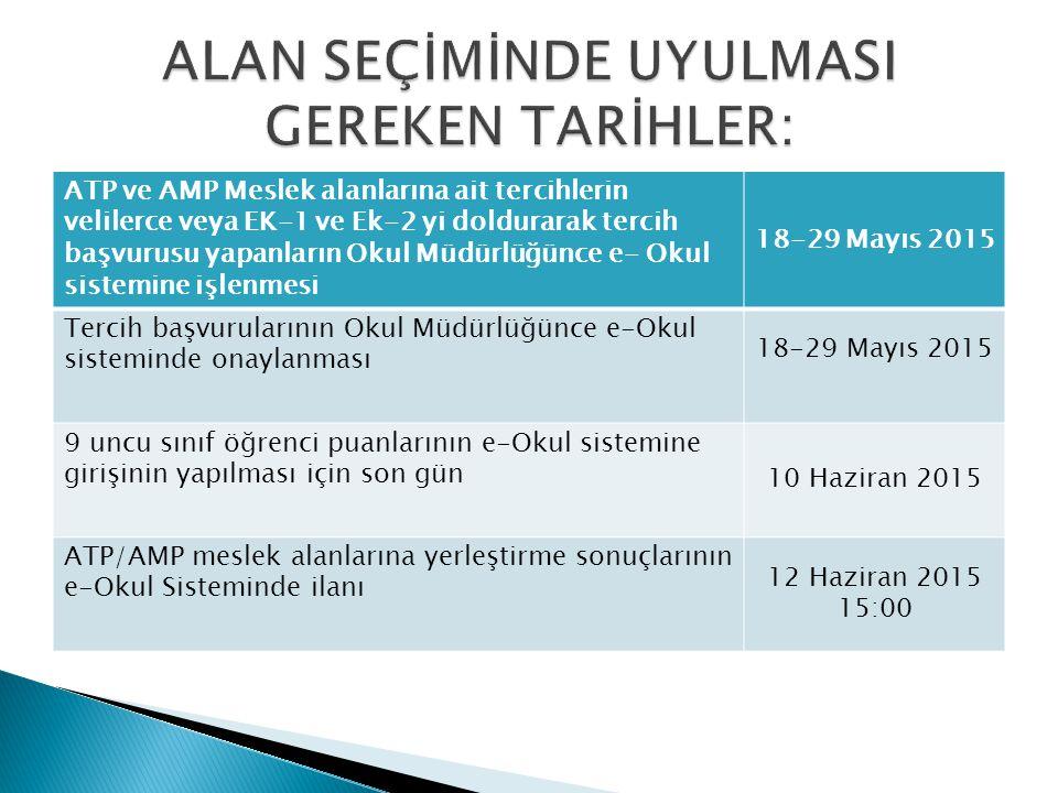 ATP ve AMP Meslek alanlarına ait tercihlerin velilerce veya EK-1 ve Ek-2 yi doldurarak tercih başvurusu yapanların Okul Müdürlüğünce e- Okul sistemine