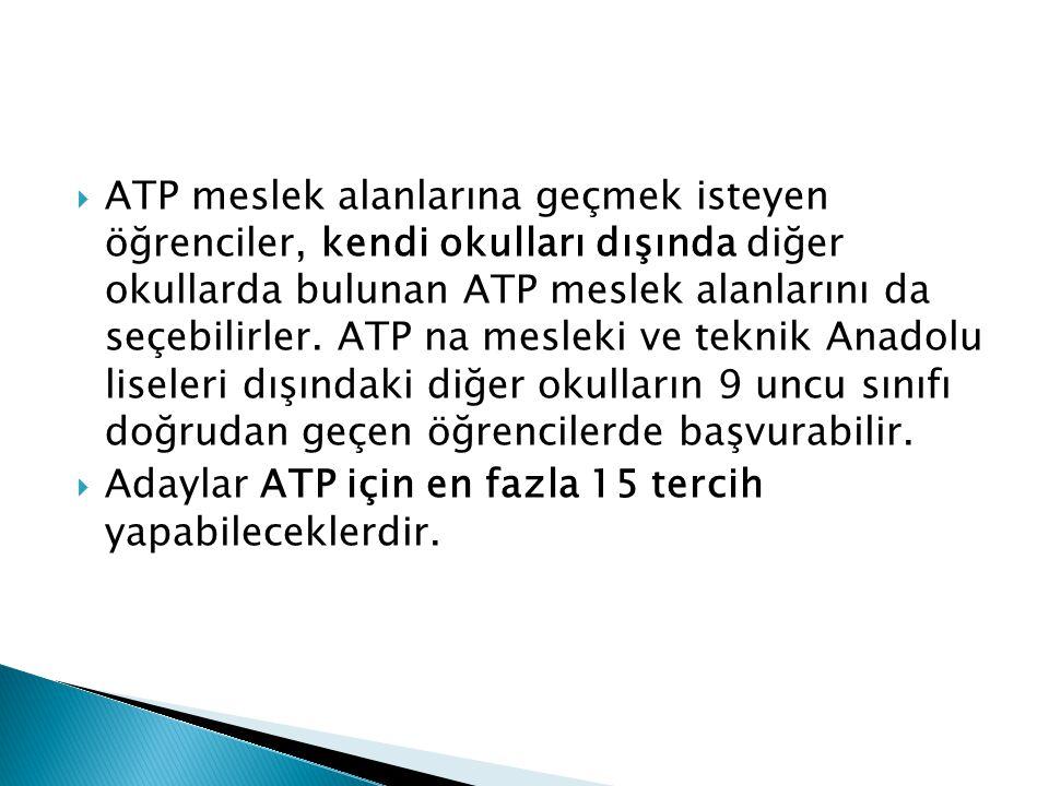  ATP meslek alanlarına geçmek isteyen öğrenciler, kendi okulları dışında diğer okullarda bulunan ATP meslek alanlarını da seçebilirler. ATP na meslek
