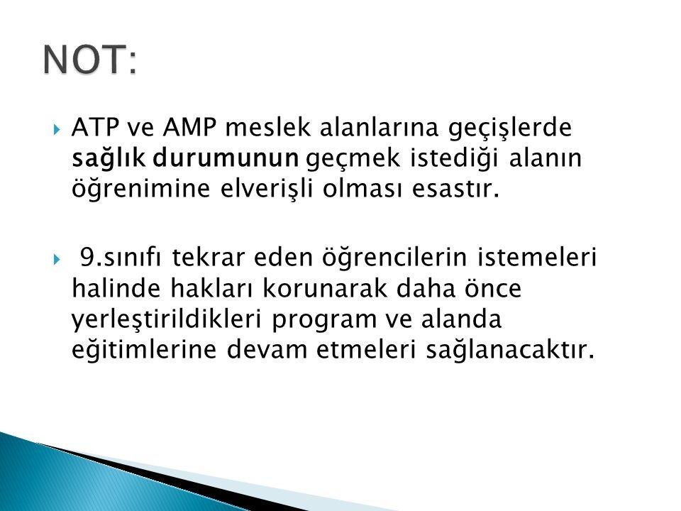  ATP ve AMP meslek alanlarına geçişlerde sağlık durumunun geçmek istediği alanın öğrenimine elverişli olması esastır.  9.sınıfı tekrar eden öğrencil
