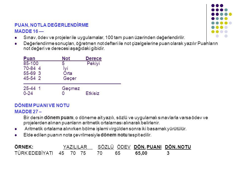 BİR DERSİN YIL SONU PUANI VE NOTU MADDE 29 – Bir dersin yılsonu puanı; a) Birinci ve ikinci dönem puanlarının aritmetik ortalamasıdır.