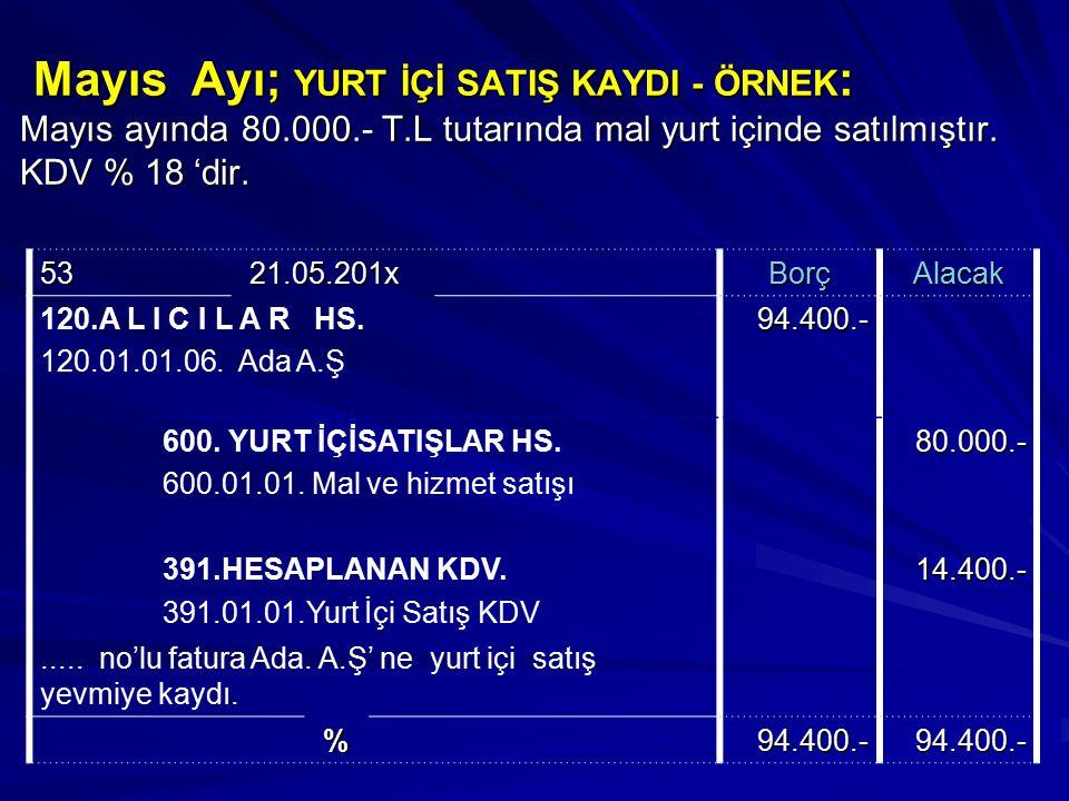 Mayıs Ayı; YURT İÇİ SATIŞ KAYDI - ÖRNEK : Mayıs ayında 80.000.- T.L tutarında mal yurt içinde satılmıştır. KDV % 18 'dir. Mayıs Ayı; YURT İÇİ SATIŞ KA