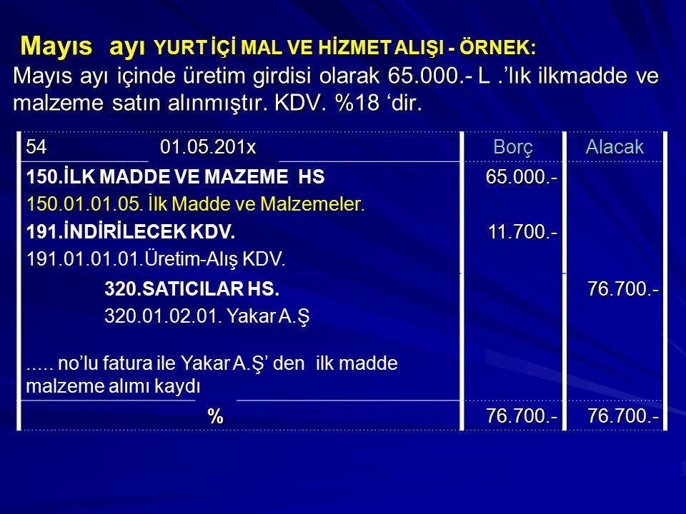 Mayıs ayı YURT İÇİ MAL VE HİZMET ALIŞI - ÖRNEK: Mayıs ayı içinde üretim girdisi olarak 65.000.- L.'lık ilkmadde ve malzeme satın alınmıştır. KDV. %18