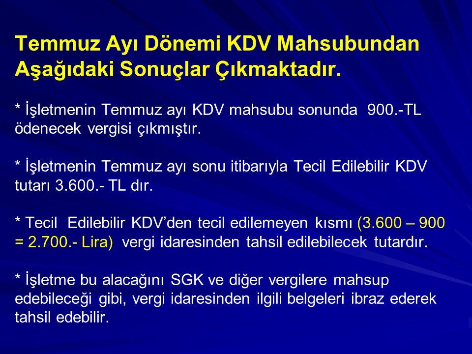 Temmuz Ayı Dönemi KDV Mahsubundan Aşağıdaki Sonuçlar Çıkmaktadır. * İşletmenin Temmuz ayı KDV mahsubu sonunda 900.-TL ödenecek vergisi çıkmıştır. * İş