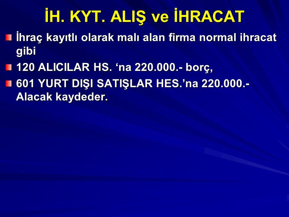 İH. KYT. ALIŞ ve İHRACAT İhraç kayıtlı olarak malı alan firma normal ihracat gibi 120 ALICILAR HS. 'na 220.000.- borç, 601 YURT DIŞI SATIŞLAR HES.'na