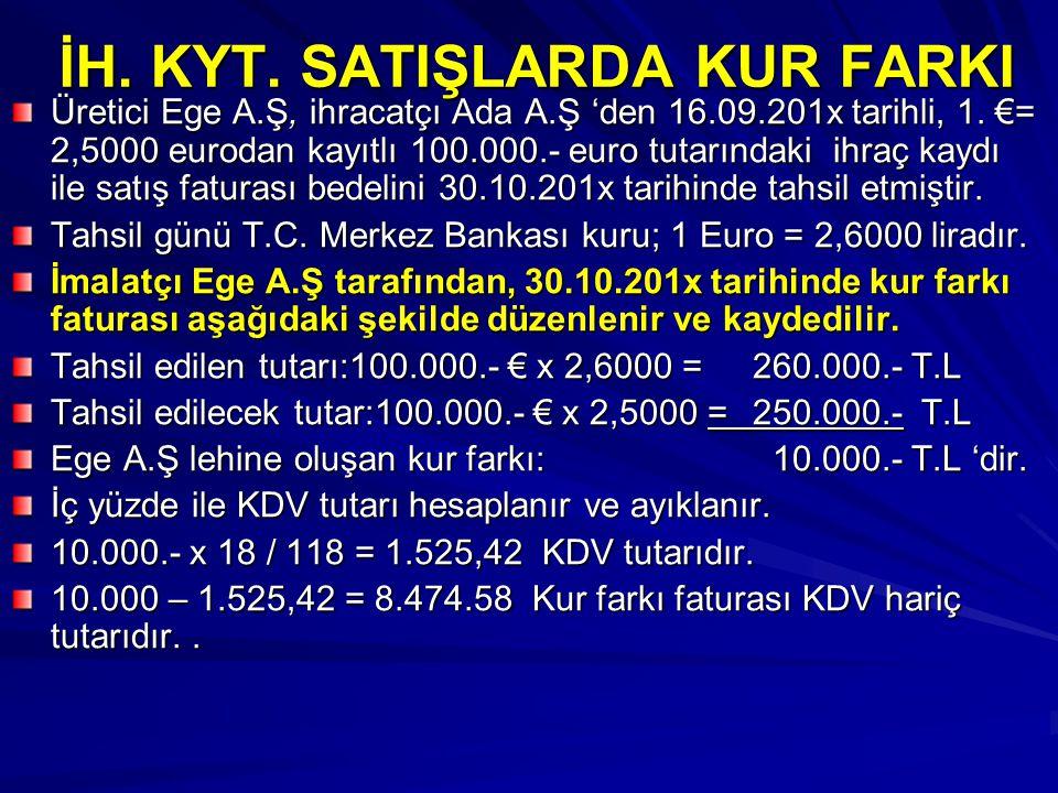 İH. KYT. SATIŞLARDA KUR FARKI Üretici Ege A.Ş, ihracatçı Ada A.Ş 'den 16.09.201x tarihli, 1. €= 2,5000 eurodan kayıtlı 100.000.- euro tutarındaki ihra