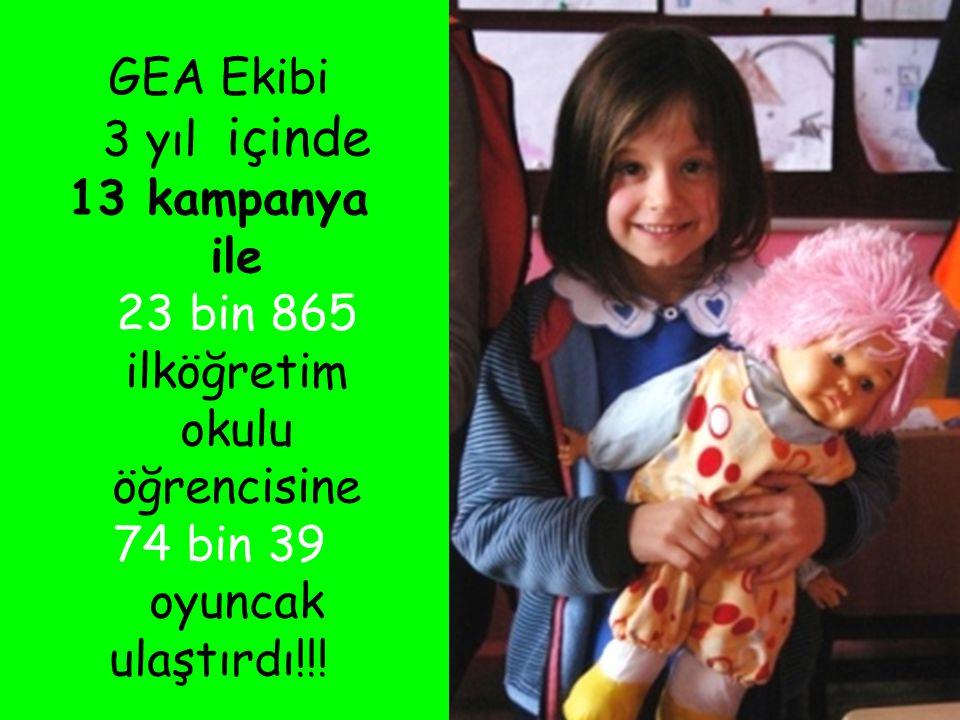 GEA Ekibi 3 yıl içinde 13 kampanya ile 23 bin 865 ilköğretim okulu öğrencisine 74 bin 39 oyuncak ulaştırdı!!!