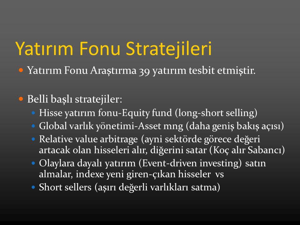 Yatırım Fonu Stratejileri Yatırım Fonu Araştırma 39 yatırım tesbit etmiştir. Belli başlı stratejiler: Hisse yatırım fonu-Equity fund (long-short selli