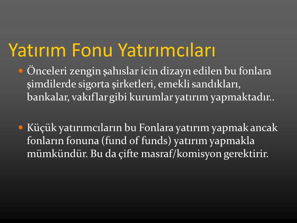 Özel Hisse Fonu (Private Equity) Yeni kurulan şirketlerle, şirket satın almalar için kullanılan fondur.