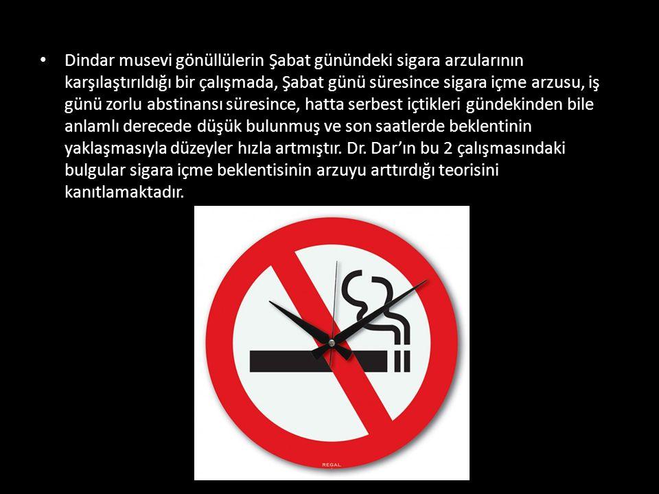 Dindar musevi gönüllülerin Şabat günündeki sigara arzularının karşılaştırıldığı bir çalışmada, Şabat günü süresince sigara içme arzusu, iş günü zorlu