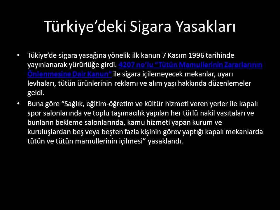 """Türkiye'deki Sigara Yasakları Tükiye'de sigara yasağına yönelik ilk kanun 7 Kasım 1996 tarihinde yayınlanarak yürürlüğe girdi. 4207 no'lu """"Tütün Mamul"""