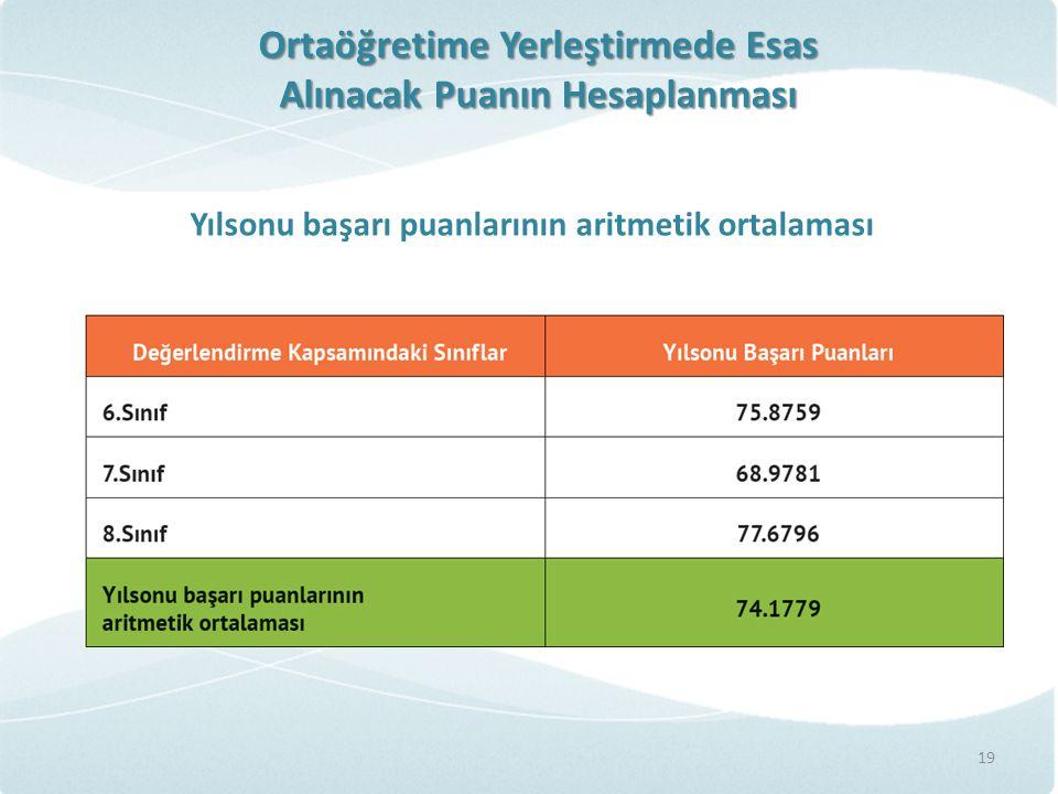Ortaöğretime Yerleştirmede Esas Alınacak Puanın Hesaplanması Yılsonu başarı puanlarının aritmetik ortalaması 19