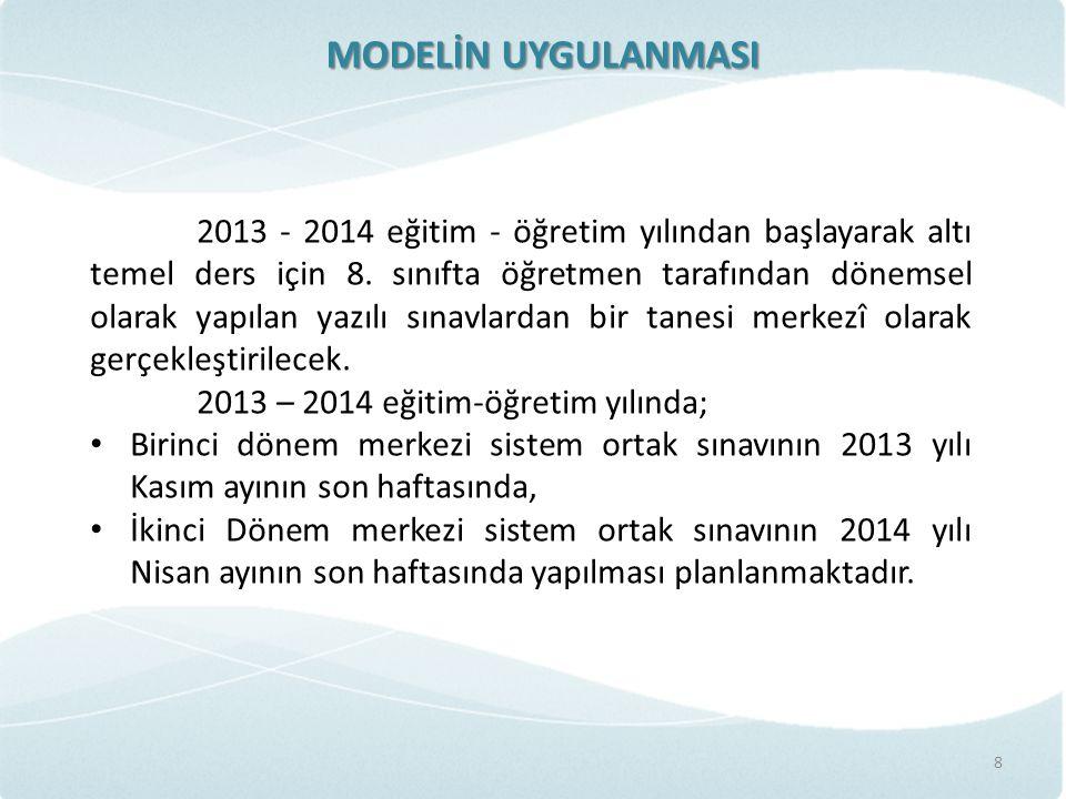 MODELİN UYGULANMASI 8 2013 - 2014 eğitim - öğretim yılından başlayarak altı temel ders için 8. sınıfta öğretmen tarafından dönemsel olarak yapılan yaz