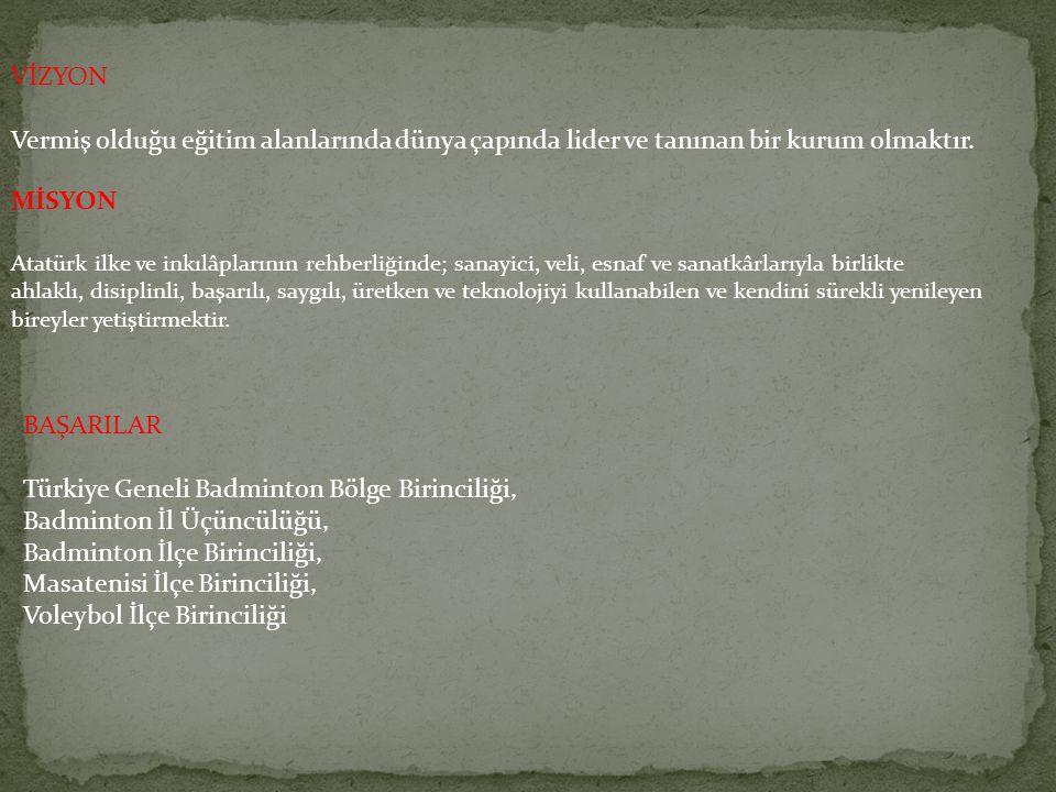 VİZYON Vermiş olduğu eğitim alanlarında dünya çapında lider ve tanınan bir kurum olmaktır. MİSYON Atatürk ilke ve inkılâplarının rehberliğinde; sanayi