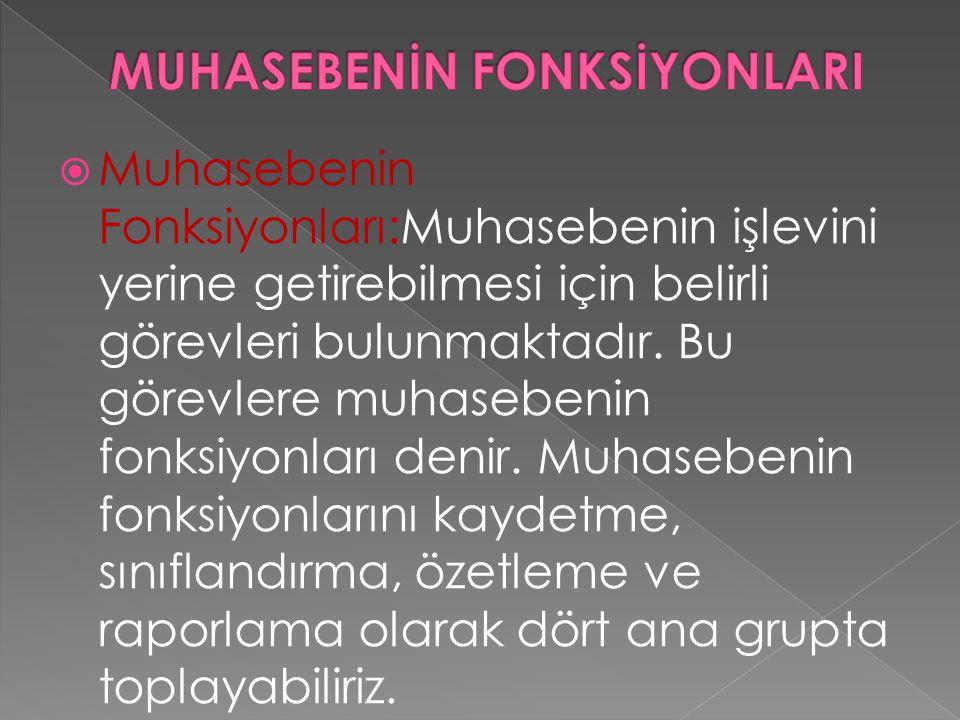  Muhasebenin Fonksiyonları:Muhasebenin işlevini yerine getirebilmesi için belirli görevleri bulunmaktadır. Bu görevlere muhasebenin fonksiyonları den