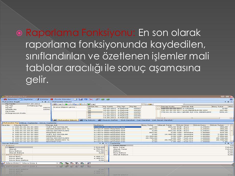  Raporlama Fonksiyonu: En son olarak raporlama fonksiyonunda kaydedilen, sınıflandırılan ve özetlenen işlemler mali tablolar aracılığı ile sonuç aşam