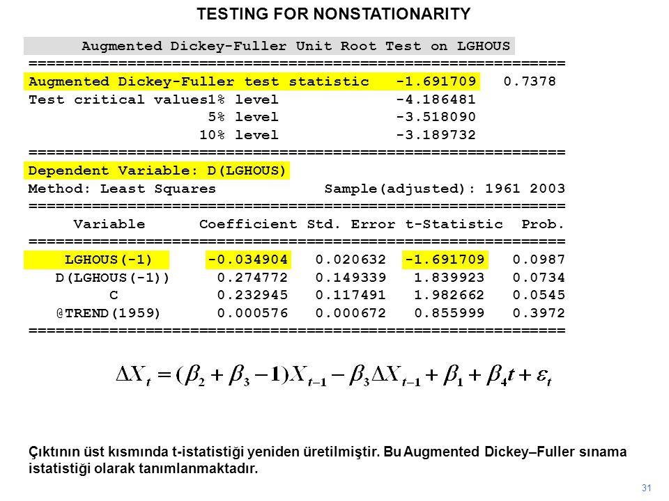 TESTING FOR NONSTATIONARITY 31 Çıktının üst kısmında t-istatistiği yeniden üretilmiştir. Bu Augmented Dickey–Fuller sınama istatistiği olarak tanımlan